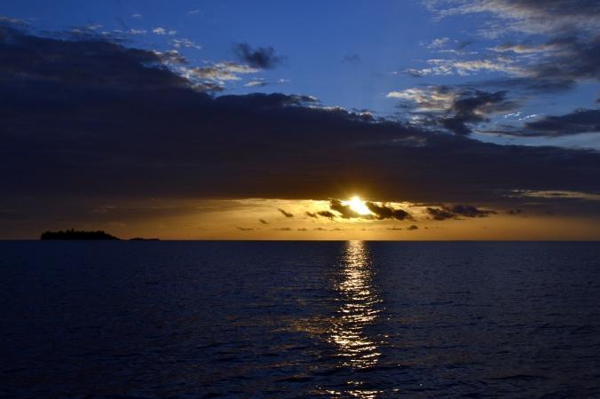 Nicht nur das Wasser und die Pflanzen sind auf den Malediven farbintensiv - auch der Sonnenuntergang haut einen einfach um!