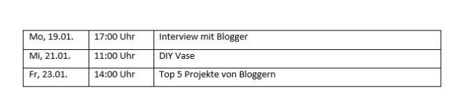 Wie mein Redaktionsplan aussieht...